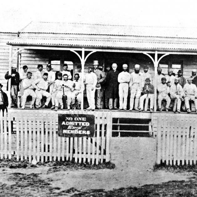 The Otago and Canterbury teams who played the inaugural first-class cricket match in New Zealand in 1864 at Dunedin's Southern Recreation Ground pavilion. Photo by Weekly Press/Canterbury Museum.