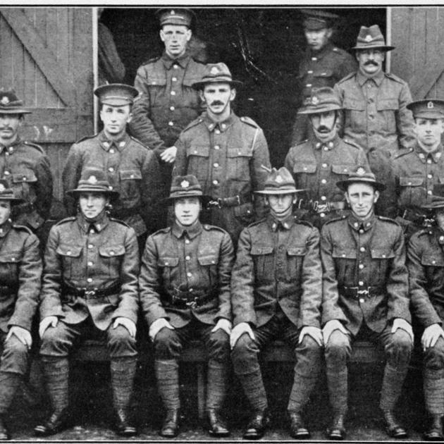 Roxburgh boys with the 15th and 18th Reinforcements. Back row (from left): Corporal J. Dorans ...