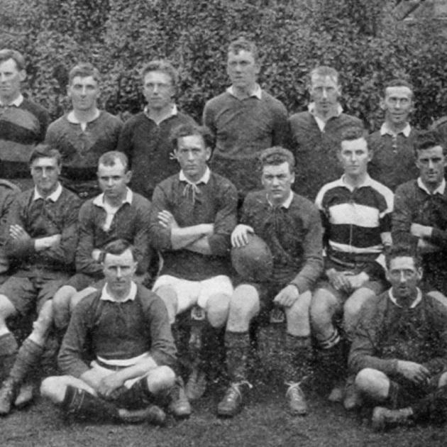 D. Company, 18th Reinforcements rugby team which played Otago at Carisbrook on September 2. Back...