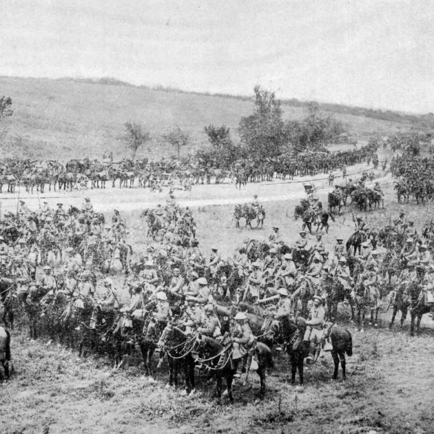 Indian cavalry getting ready to advance on the Somme. — Otago Witness, 20.9.1916.