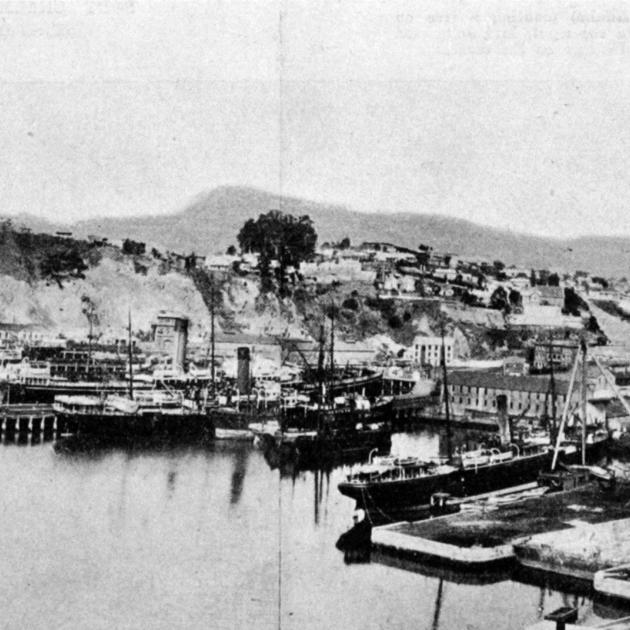 Intercolonial and overseas shipping at Port Chalmers waterfront, with the commodious new graving...