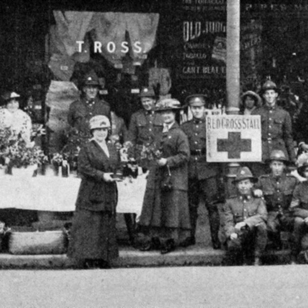 The Red Cross stall at Jacob's Corner, Dunedin, instituted by Miss K. McLean to raise funds for...