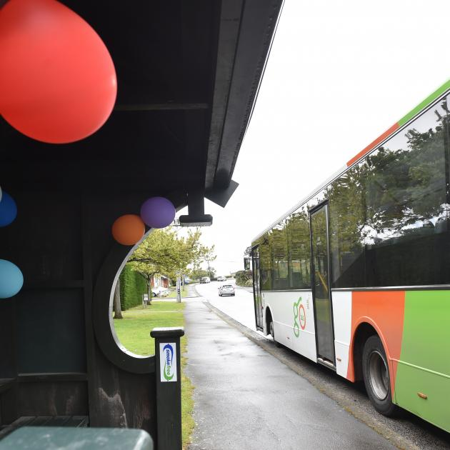 Bright balloons remain at the Larnach Rd, Dunedin. Photo by Peter McIntosh.