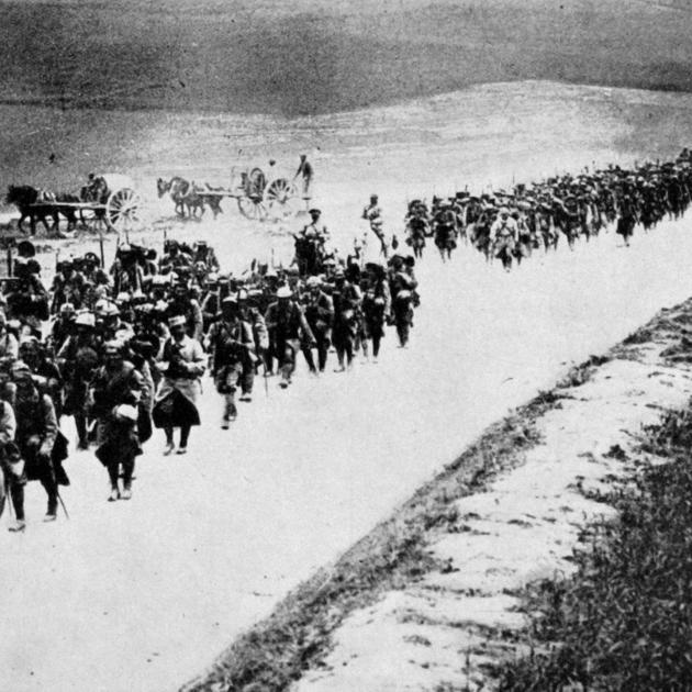 Long lines of French reinforcements marching to the Somme battlefront. — Otago Witness, 18.10.1916.