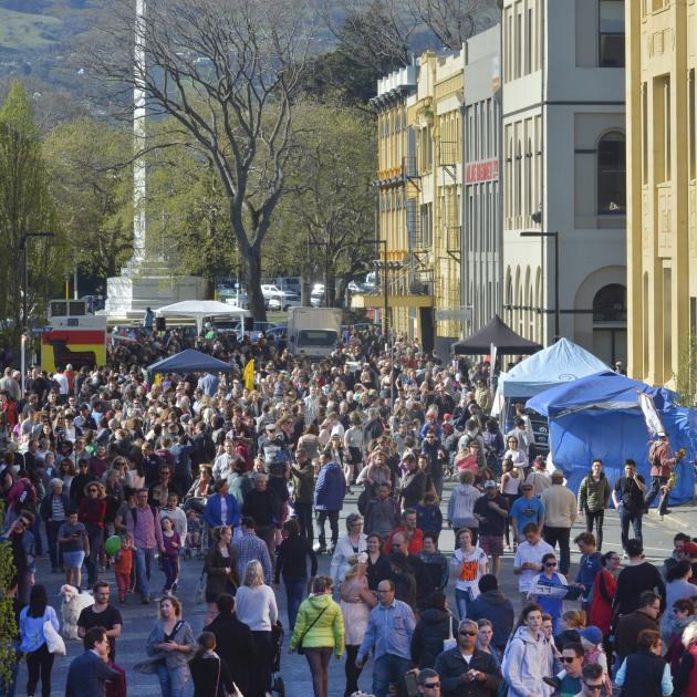 Dunedin's historic warehouse district was packed during today's Vogel St Party. Photo by Gerard O...