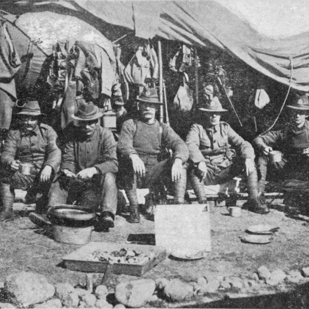 Troops of the 20th Mounted Regiment at Papawai. From left: A. Nicolson, Bradshaw, J. Frame, M....