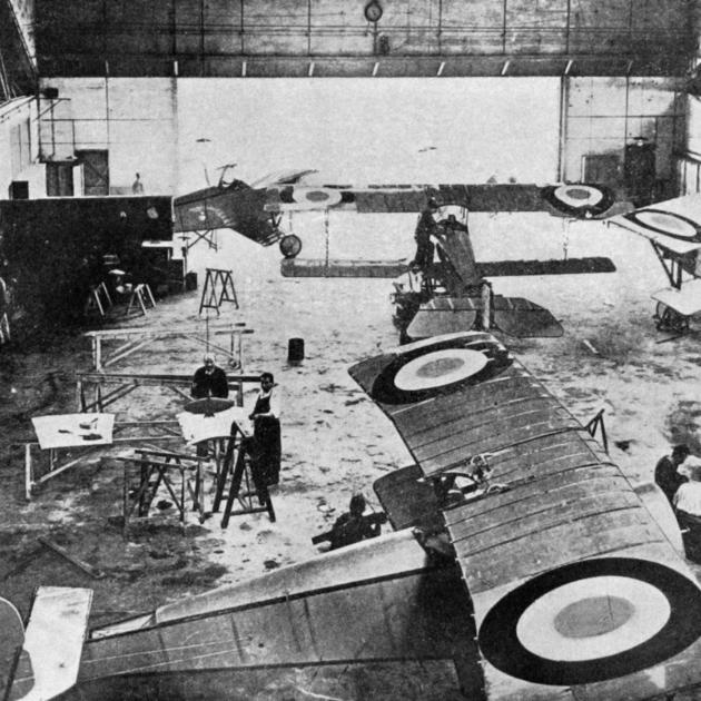 One of the French government factories where the latest types of aircraft used in scouting are...