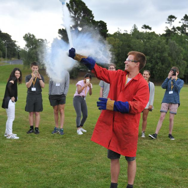 Mike Jessop (17),  of South Otago High School, Balclutha, fires off a plastic bottle ''rocket'',...