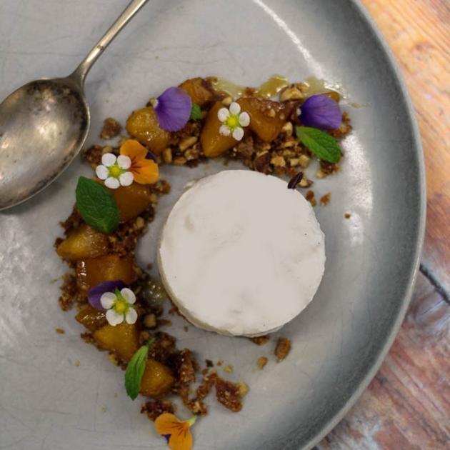 Sophie McLennan's walnut cake with yoghurt mousse, caramelised fruit and walnut praline. Photos by Dani Johnson.