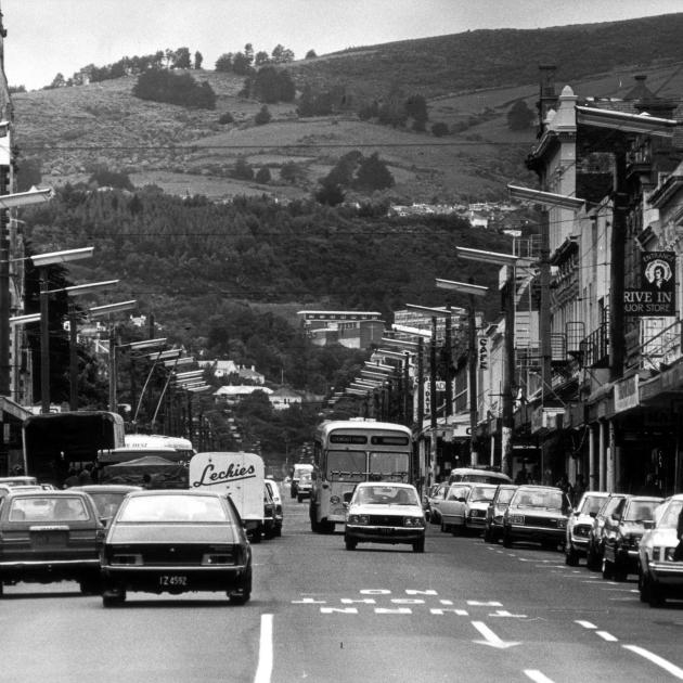 Traffic in George St, Dunedin, in the late 1970s. Photo from ODT files.