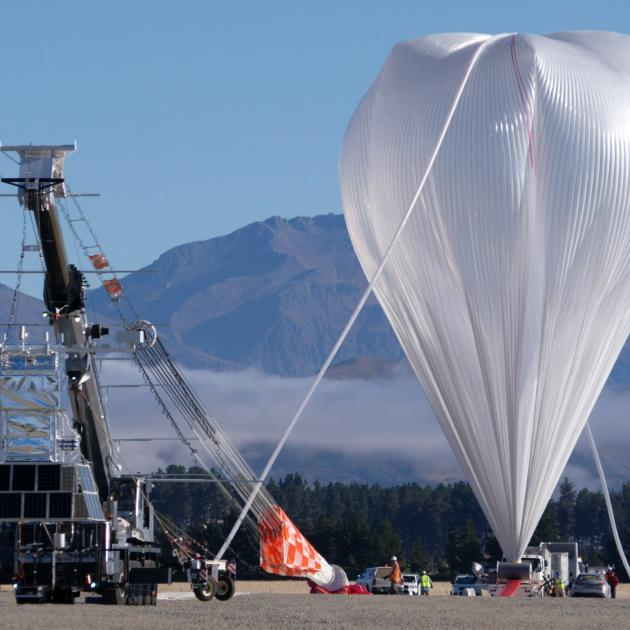 Nasa's super pressure balloon full of helium and ready to take flight from the dedicated balloon launch pad at Wanaka Airport yesterday morning. Photo: Nasa/Bill Rodman.