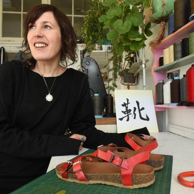 Shoemaker Louise Clifton in her studio in central Dunedin. Photo: Gregor Richardson.