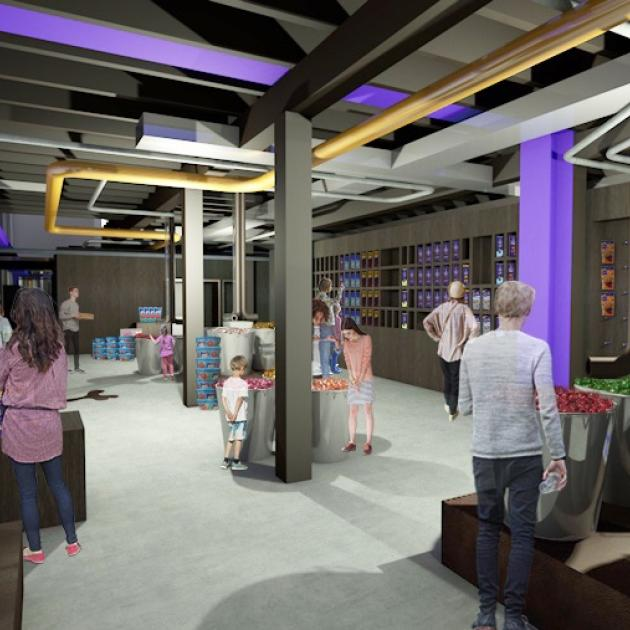 An artist's impression of what the retail area will look like in Dunedin's redeveloped Cadbury...