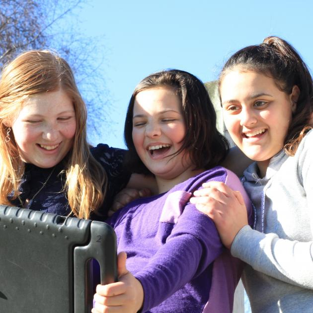 Kakanui trio (from left) Koru Parry, Ella Nelson and Leah Morrow (all 12) are making a film for...