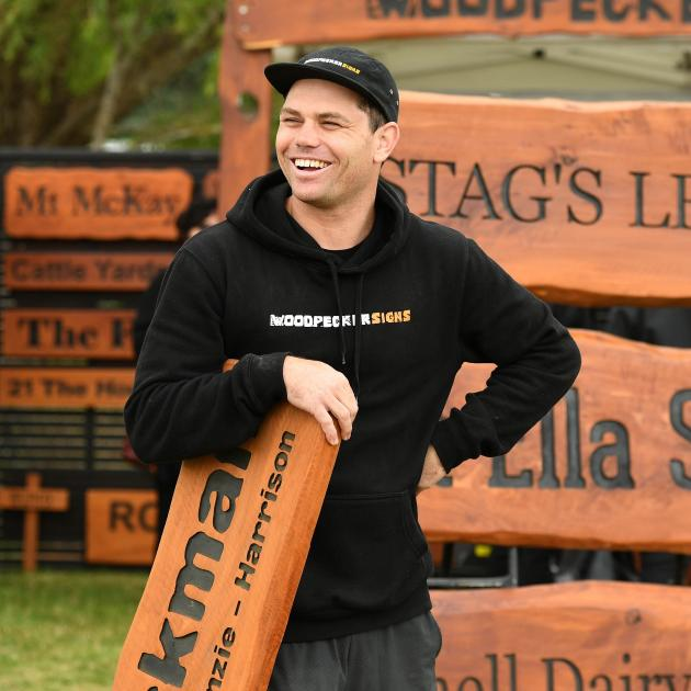 Married at First Sight celebrity Brett Renall works on his stand at the Southern Field Days at Waimumu. Photo: Stephen Jaquiery