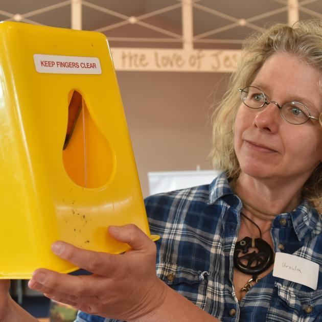 Otago Peninsula Biodiversity Group project manager Dr Ursula Ellenberg holds one of the hundreds...