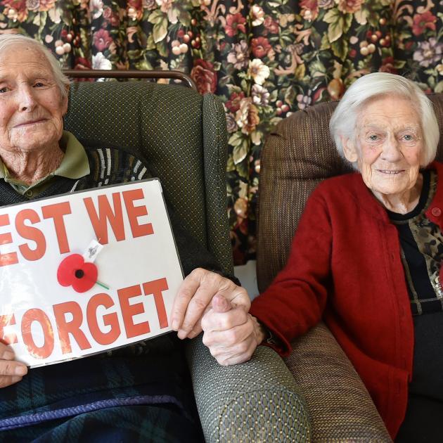 World War 2 veteran Allan Hagan (99) and his wife Hazel spending their first Anzac Day at Ross...