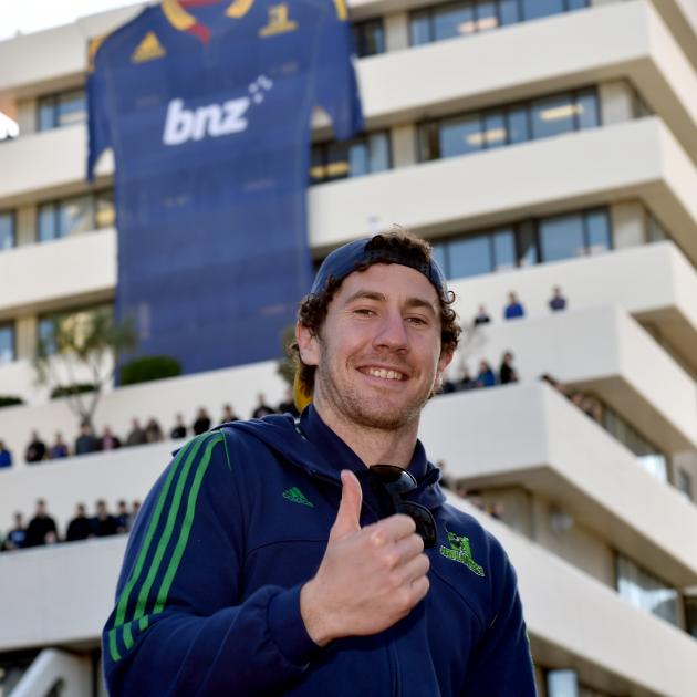 Banks during the Highlanders Super Rugby victory parade in the Octagon. Photo: Gregor Richardson.