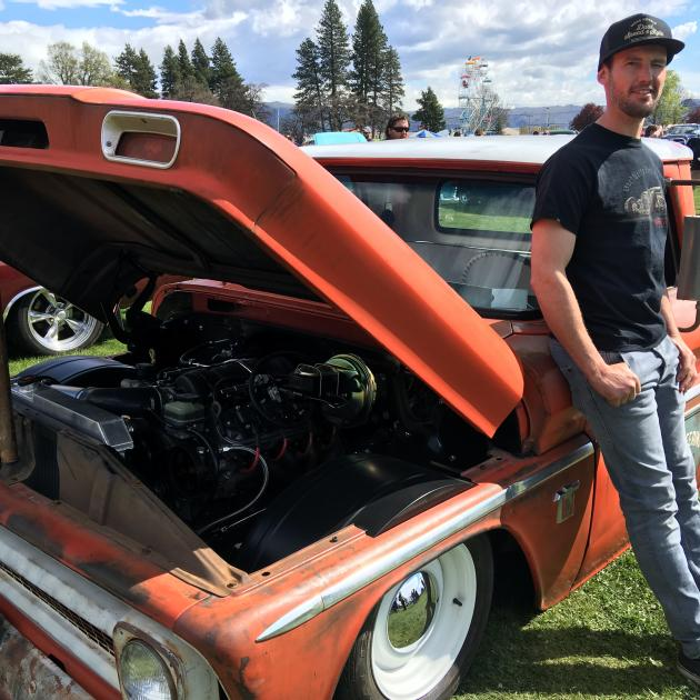 Todd Sutherland, of Alexandra, shows off his modified 1964 Chevrolet C10 pickup at the Alexandra...
