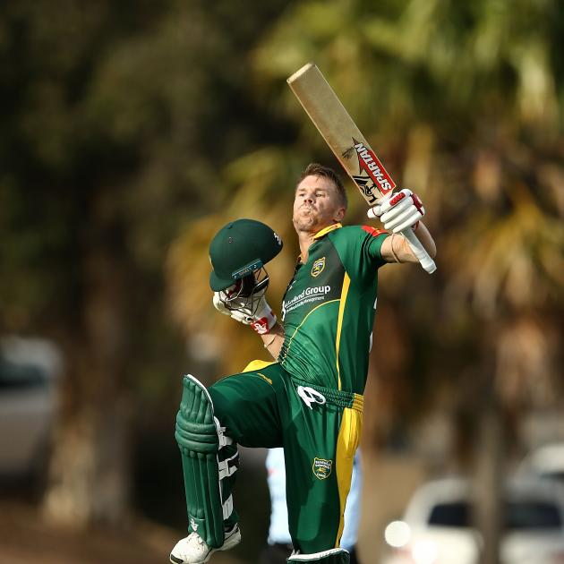 David Warner performs his trademark celebration at a club ground in Sydney's Eastern suburbs....