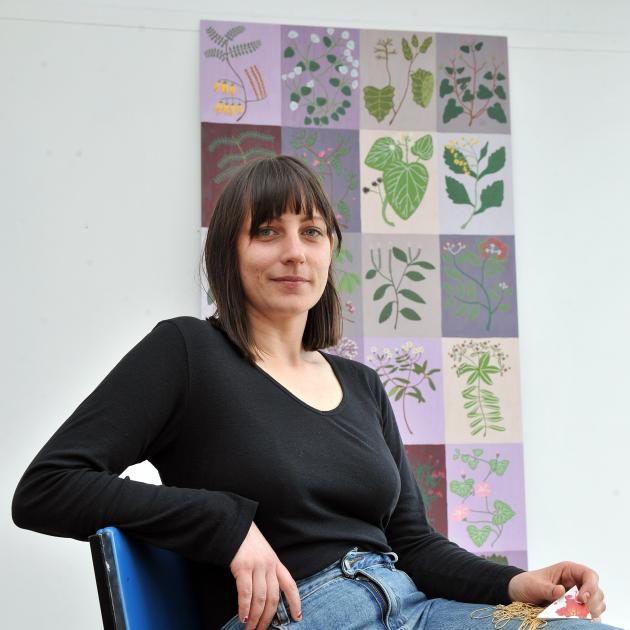 Ayesha Green has moved away from her large-scale works (rear) to try her hand at mosaics and installation. Photos: Gregor Richardson