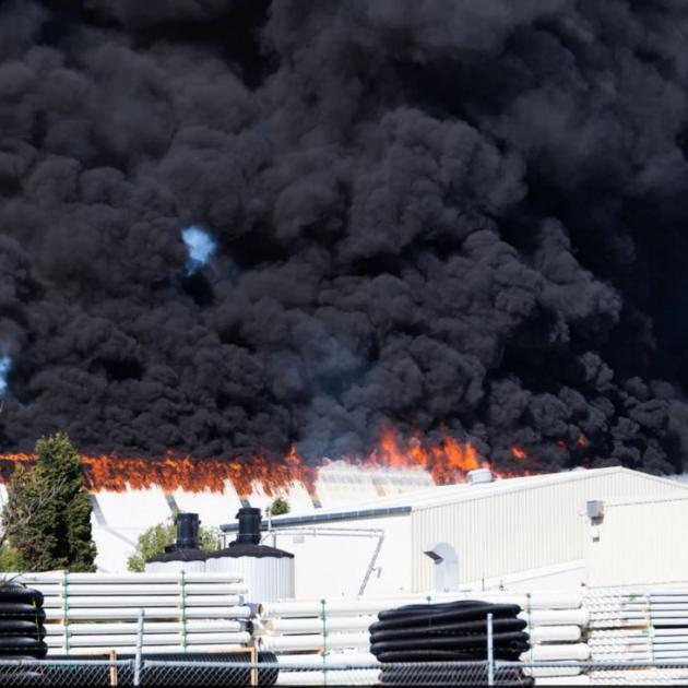 The blaze began at the Hornyby facility in Main South Rd, Christchurch. Photo: NZME