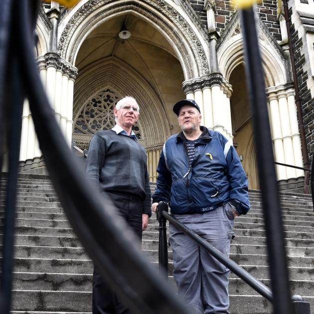 Catholic Bishop of Dunedin the Most Rev Michael Dooley (left) is lending financial support to Dunedin sexual abuse survivor Darryl Smith (right) to attend a gathering at the Vatican. Photo: Peter McIntosh