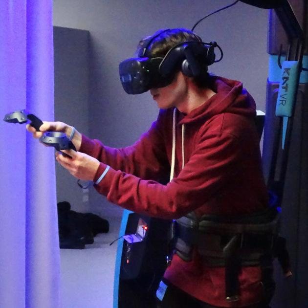 Full-motion virtual reality will be available to the New Zealand public for the first time when Realm opens in Wanaka on Friday. Charlie Jewell (17) puts the equipment to the test yesterday. Photo: Sean Nugent