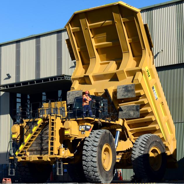 A mine-life extension is on the cards for Oceana Gold's Macraes mine in East Otago which boasts five new Caterpillar 789D dump trucks with a 200-tonne load capacity, which the company purchased in 2016. Photo: Gerard O'Brien