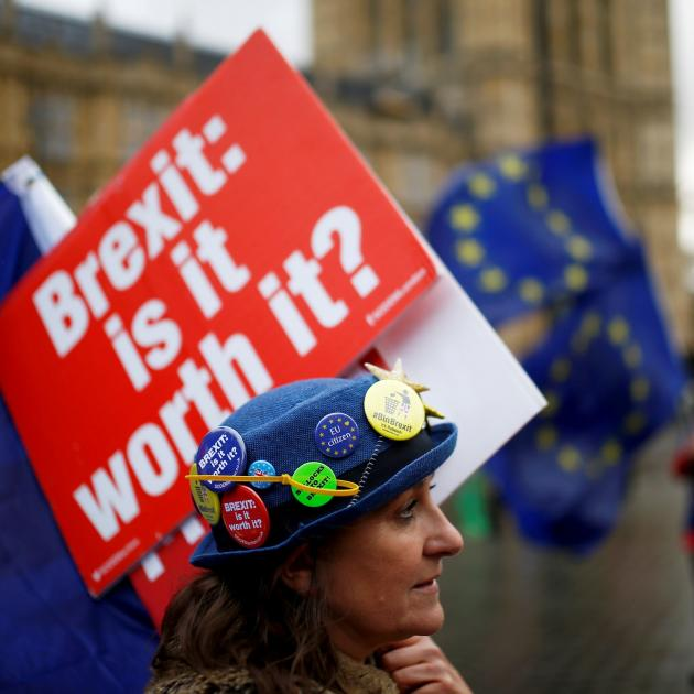 Anti-Brexit demonstrators protest outside the Houses of Parliament in London at the weekend....