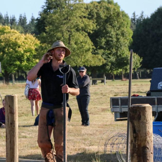 Isaac Johnston, of Tapanui, shows off his fencing prowess during the New Zealand Young Farmers...