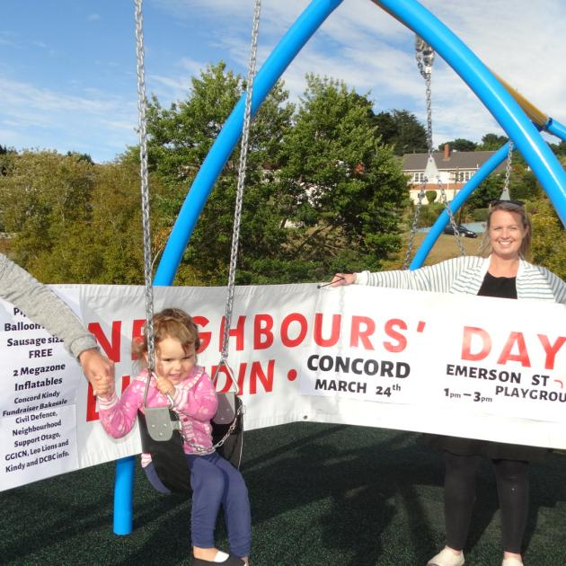 Preparing to host a Neighbours Day community event at Concord reserve this Sunday are (from left)...