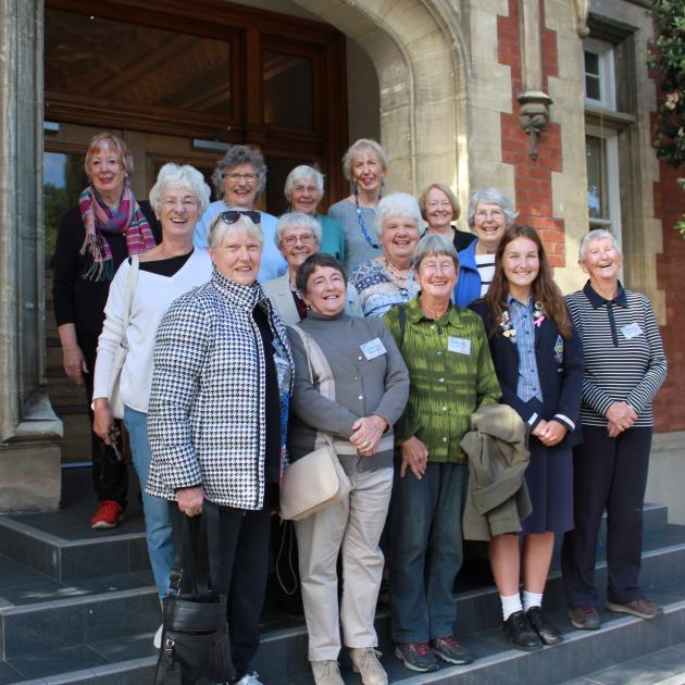 Former Otago Girls' High School pupils (front, from left) Kay Klitscher, Joan Webster, Barb...
