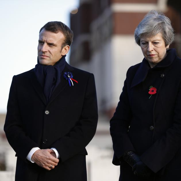 French President Emmanuel Macron and British leader Theresa May. Photo: AP