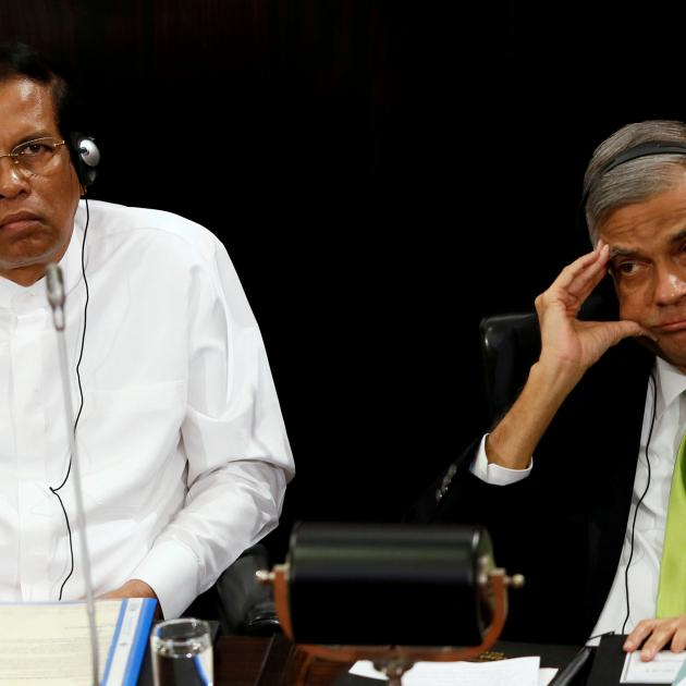 Sri Lanka's President Maithripala Sirisena (left) and Prime Minister Ranil Wickremesinghe. Photo...