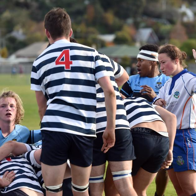 Erin Doherty signals for a free kick during the game between King's High School First XV and Otago Boys' High School Second XV at King's High School on Saturday. Photo: Peter McIntosh