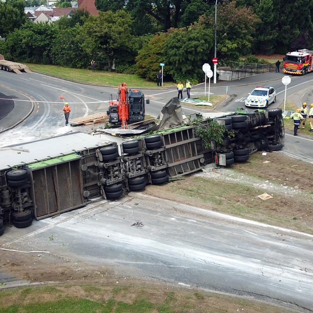 The scene of a serious crash yesterday where a Summerland Express truck rolled and came to a stop...