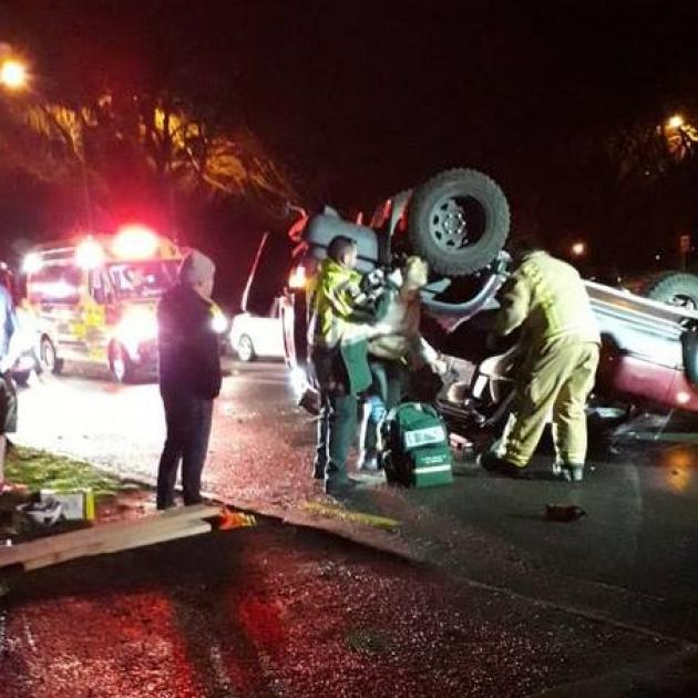 Emergency services attending the serious crash in Burwood, Christchurch, on Saturday night. Photo...