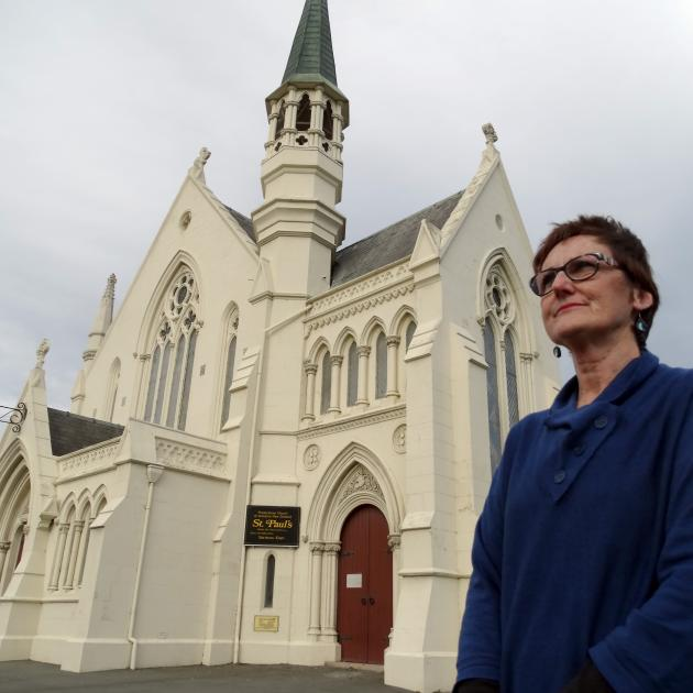 the Rev Rose Luxford outside St Paul's Church in Coquet St, one of three churches burgled in...