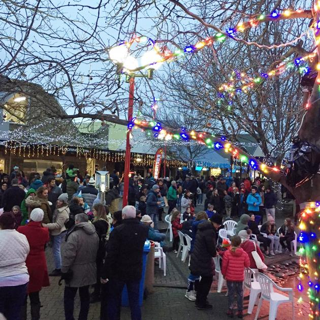 The Cromwell Mall is filled with activity during Saturday night's Light Up Winter festival....