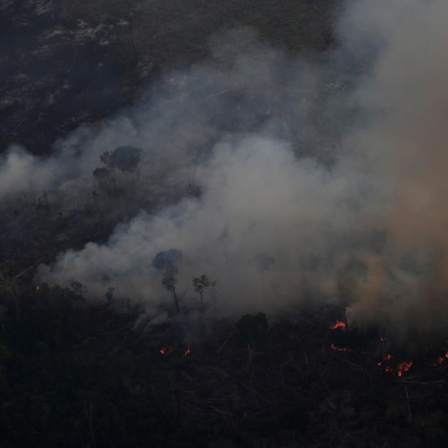 Smoke rises from a fire in an area of the Amazon rainforest near Porto Velho, Rondonia State,...