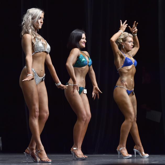 Bodybuilders (from left) Georgina Guthrie, Natalie Parry and Nicola Cooper compete in the shape...