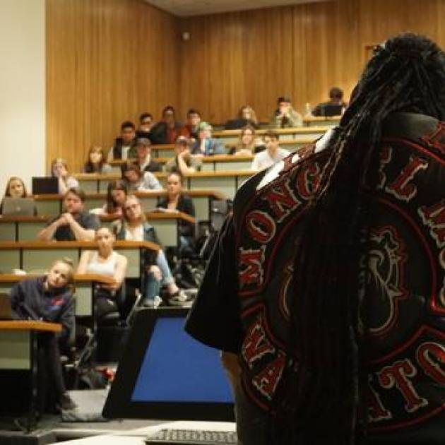 Sonny Fatu speaks to students. Photo: Katie Harris