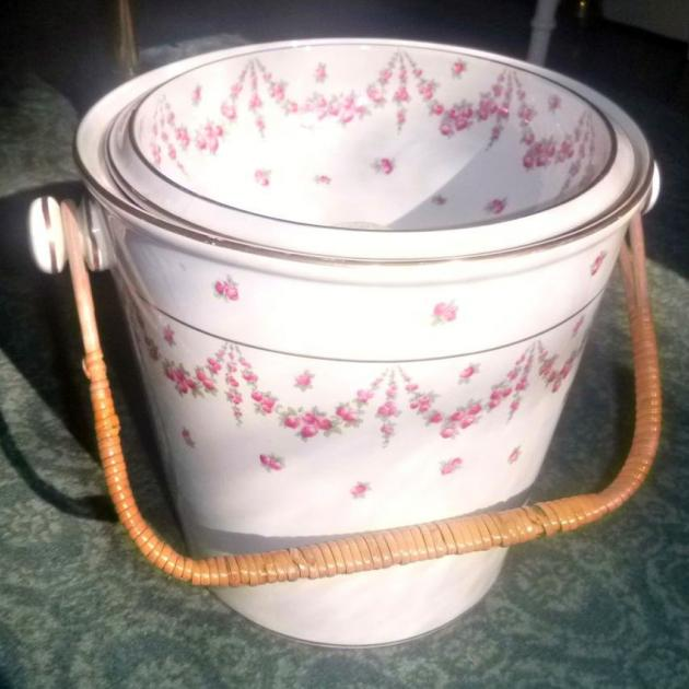 Victorian era bedroom water pail (slops bucket), decorated with rose-sprig swags.