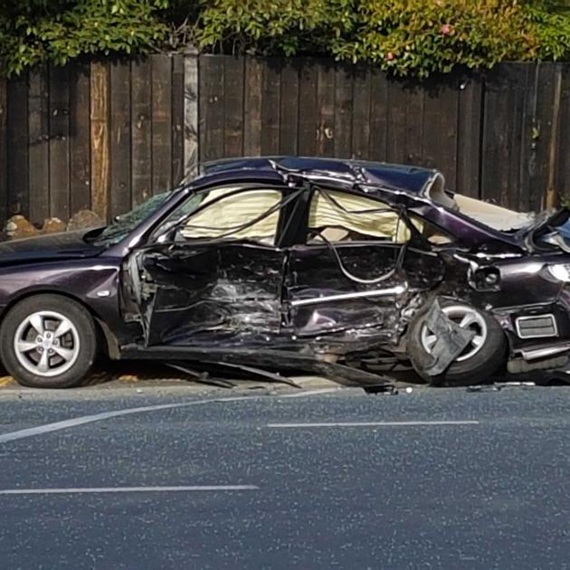 One of the cars involved in the crash.