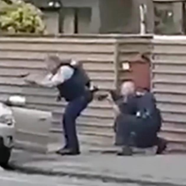 The moment the accused gunman was arrested.