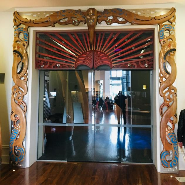 The waharoa in place at the Toitu exhibition galleries' entrance. Photo: Supplied