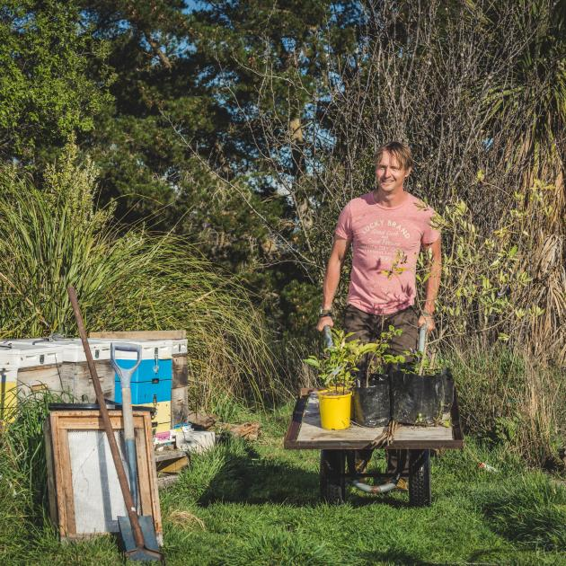 Ben Elms says growing in containers means veges can go with you wherever you go. Photo: Gina...