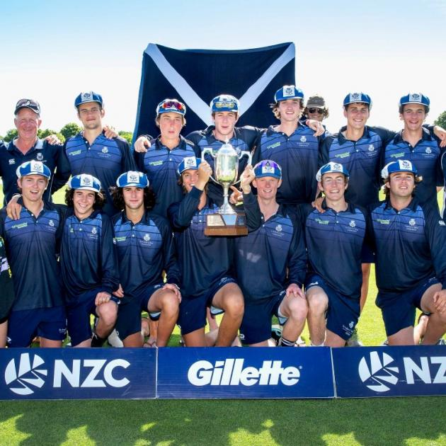 St Andrew's College's first XI celebrate the school's first ever Gillette Cup title.