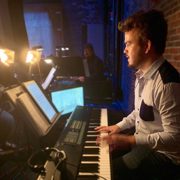 Matt Everingham working on the musical Next to Normal at the Tibbits Opera House in Michigan.